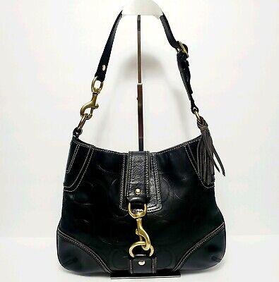 COACH Hamptons Signature Embossed Black Leather Medium Handbag Purse 11328