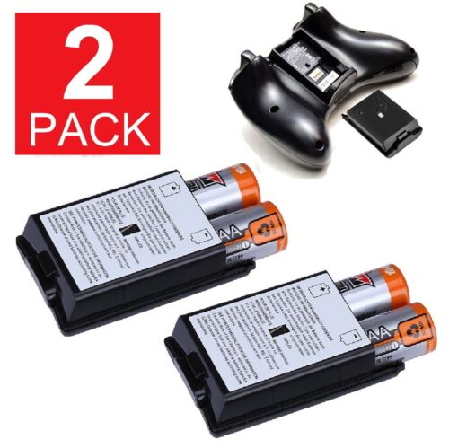2-Pack AA Battery Back Cover Case Shell Pack For Xbox 360 Wireless Controller