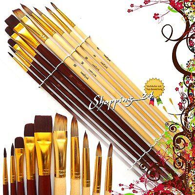10 PINSEL SET Professioneller Pinselsatz für Ölfarbe, Acrylfarbe ÖL ACRYL Brush