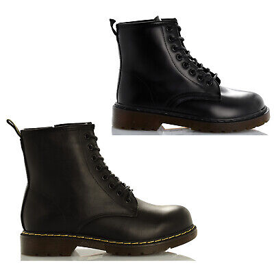 Anfibi donna stivali bassi biker boots stivaletti fibbie scarpe nero lacci tacco