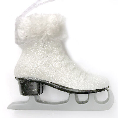 - Large White Glitter Skate Christmas Tree Ornament Victorian Skater Faux Fur