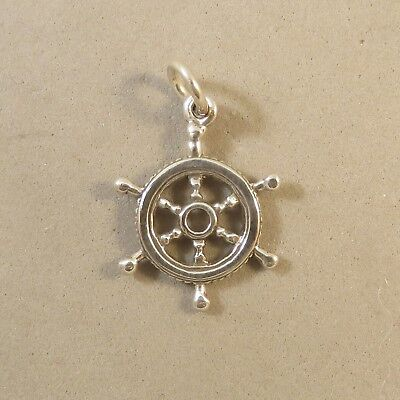 .925 Sterling Silver 3-D CAPTAINS WHEEL CHARM NEW Pendant Sailing Boat 925 NT128 Captains Wheel Charm