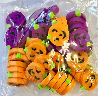 50 Mini Halloween Pumpkin Shaped Erasers Teacher Supply Sorting Math Counter