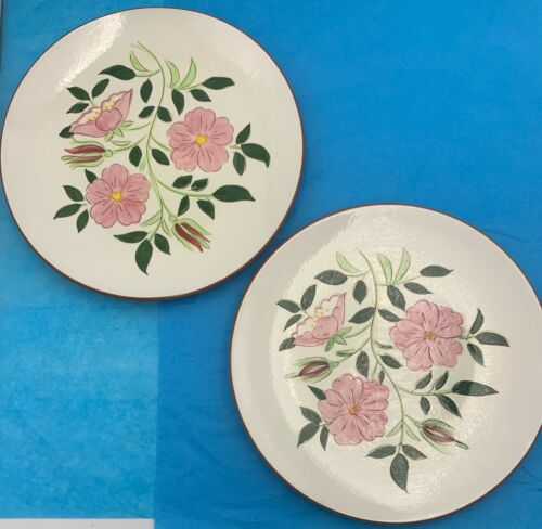 Pair of STANGL Pottery Wild Rose  Dinner Plates