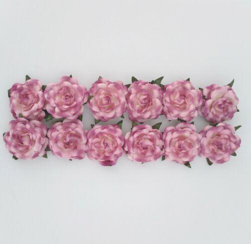 Light Rose Paper Roses, Flower Embellishments, Floral DIY, Package of 12