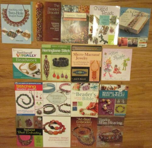 LOT OF 17 BEAD JEWELRY MAKING SOFTCOVER BOOKS, USED - VG