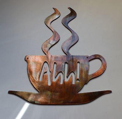 "Ahh! Coffee Cup Metal Wall Art Decor 7 3/4"" tall"
