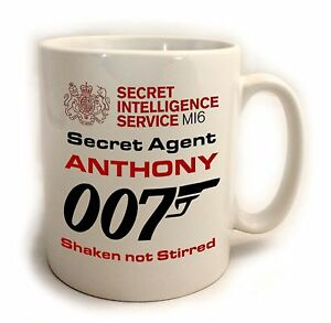 Personalised James Bond 007 Birthday Gift Mug.  Comes with FREE STENCIL
