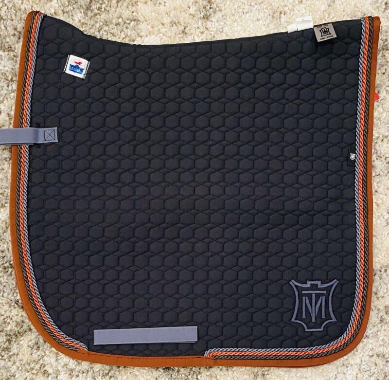 Mattes Square Cotton Quilt Dressage Pad - Graphite/Nougat/Cinnamon - Large