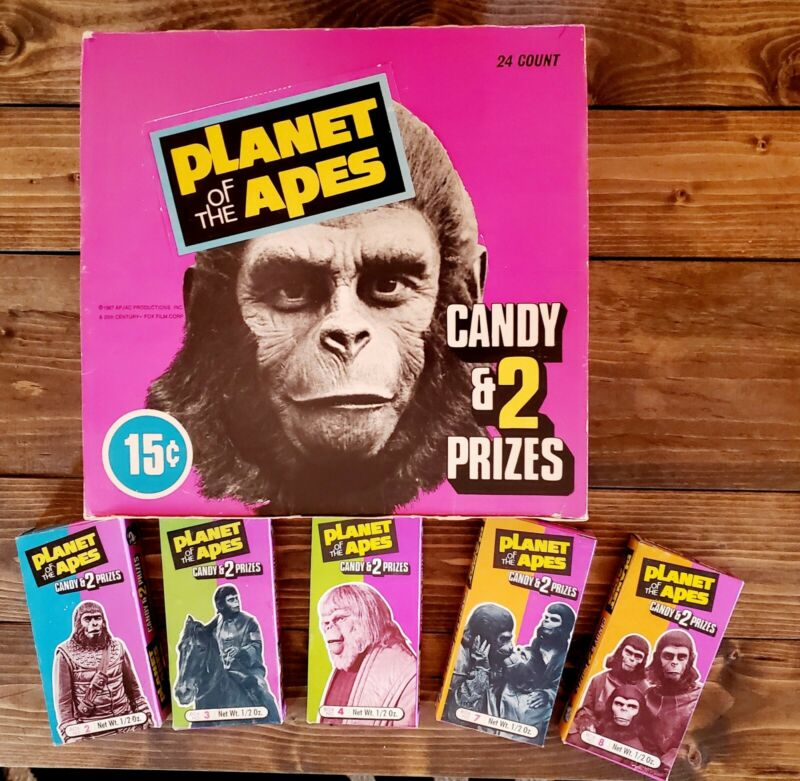 """1975 """"PLANET OF THE APES"""" Orig. PHOENIX CANDY """"STORE DISPLAY BOX"""" & 5 Diff BOXES"""