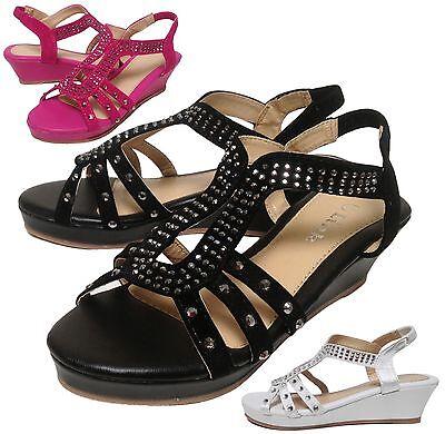- NEW Girls Keyhole Gladiator Stretch Slingback Wedge Sandal Kids Shoe Size 9 10 1