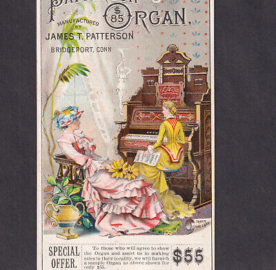 Patterson $85 Organ Bridgeport CT 1800's Piano Company old Victorian Trade Card