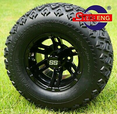 "GOLF CART 10"" BLACK BULLDOG WHEELS / RIMS and 20"" ALL TERRAIN TIRES (SET OF 4)"