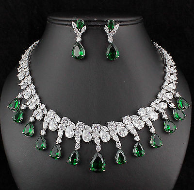 Dangle Drop CZ Cubic Zirconia Crystal Necklace Earrings Set Wedding Party CZ901g
