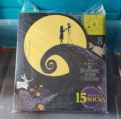 Nightmare Before Christmas 15 Days of Socks Advent Calendar 2019 Womens sz 4-10