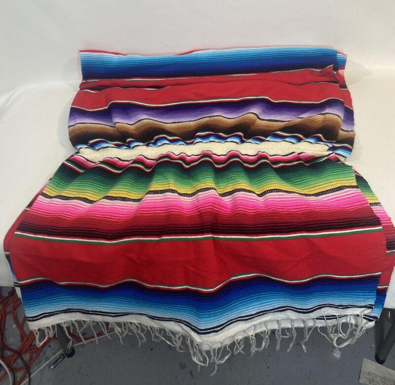 VTG Mexico Serape, Blanket, Multi Color Hand Woven, Great Overall & Fringe Cond!