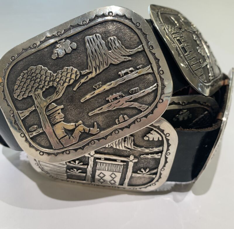 Navajo Storyteller Sterling Silver Concho Belt