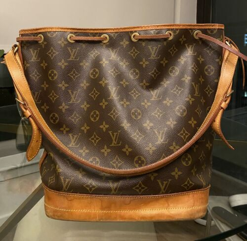 Louis Vuitton Noe Drawstring Shoulder Bag Purse Monogram Bro