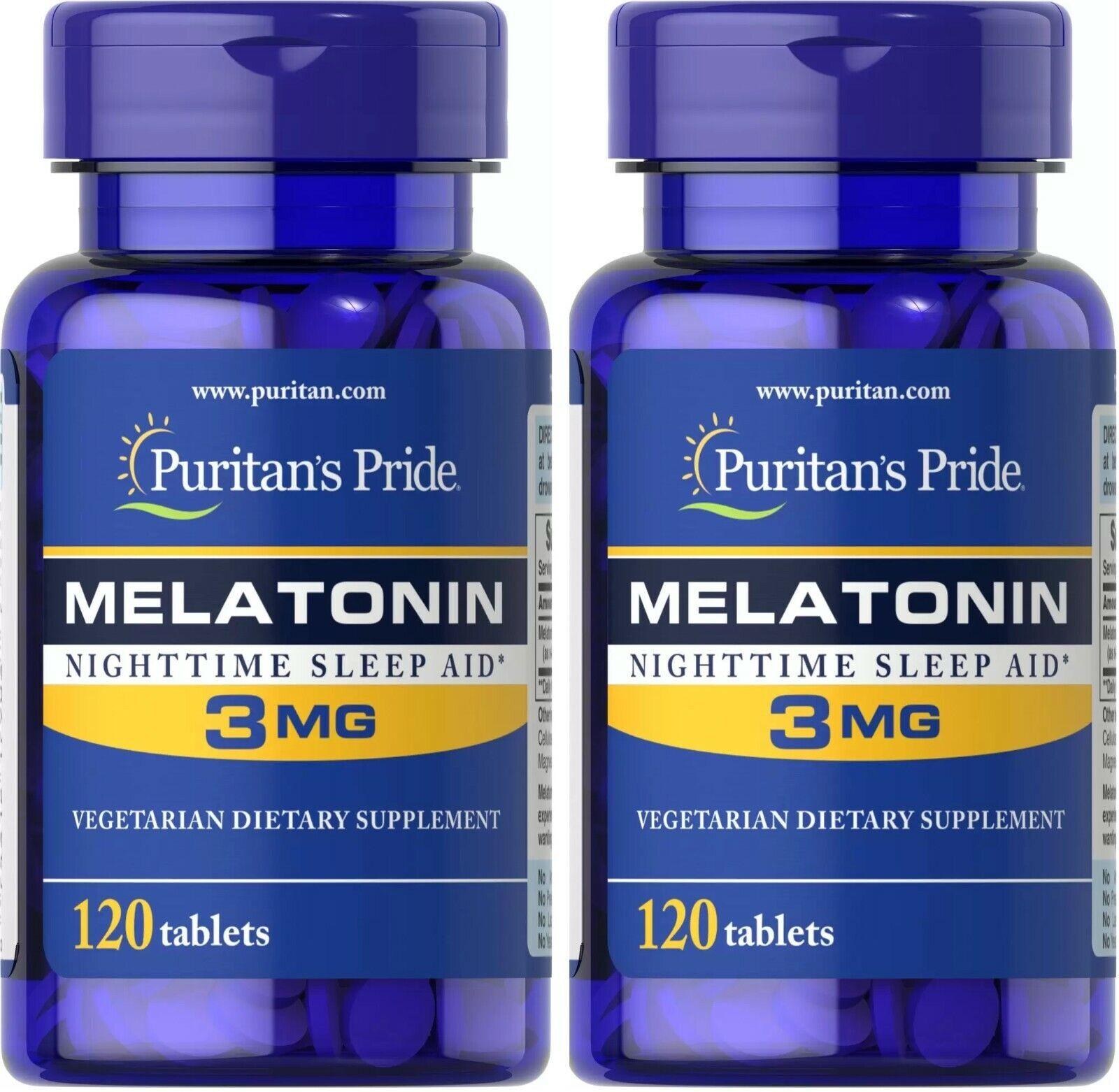 Puritan's Pride Melatonin 3 mg 2 Pack 240 Tablets (2x120)