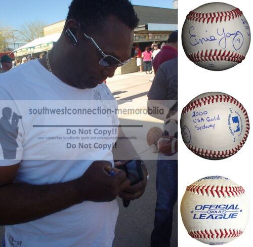 Ernie Young Royals Signed Baseball A's Athletics Tigers Dbacks Proof Autograph