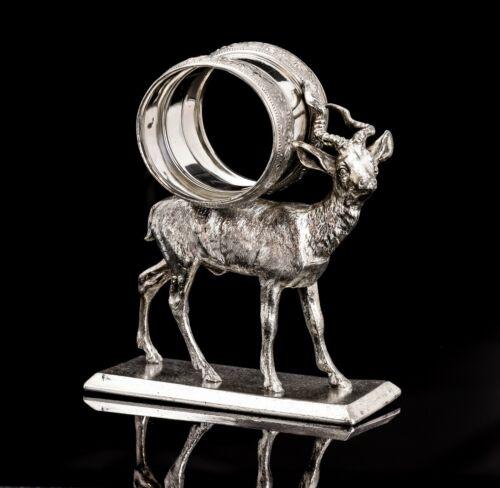 Victorian Silver Plate Figural Napkin Ring Deer Stag Meriden #204