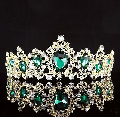 Exquisite Green Crystal Rhinestone Tiara Crown Prom Pageant Bridal Wed Gold T84 for sale  Shipping to Canada