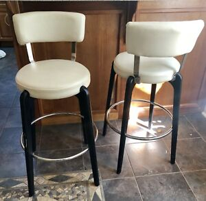 TWo White Leather Bar Stools