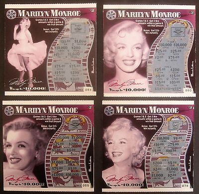 Marilyn Monroe Instant  Lottery Tickets 4 Diff