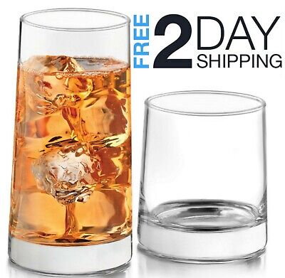Glassware Set Tumbler Drinking Glasses Rocks Glass Lead Free 16 Piece Clear Kit