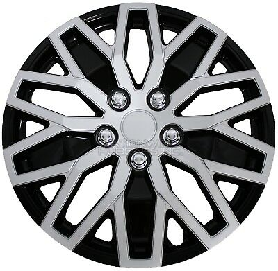 "16"" Silver Black Set of 4 Wheel Covers Snap On Hub Caps fit R16 Tire & Steel Rim"