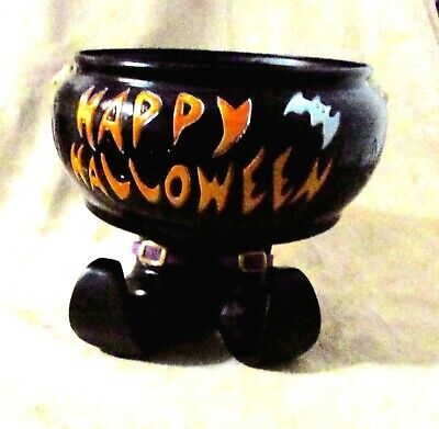 Vintage Halloween Animated Talking Caldron Candy Dish Witch Feet - Gemmy Ind