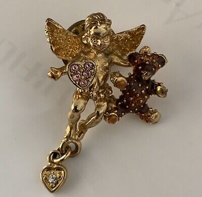 Kirks Folly Lapel Pins, Angel with Teddy , and Fairy With Star,Vintage