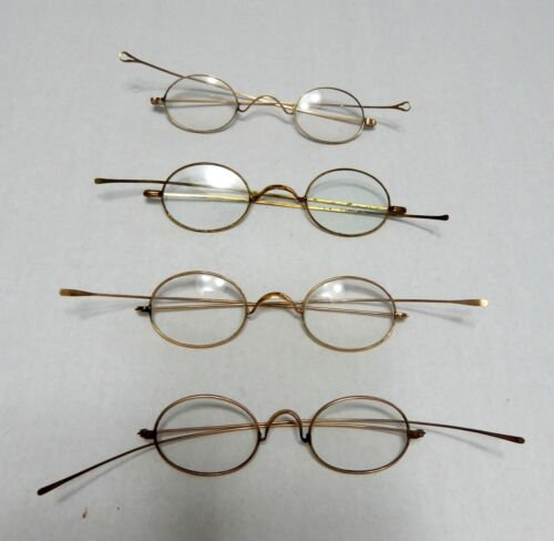 ANTIQUE SPECTACLES  LOT OF 4, FRENCH WIRE - ANTIQUE EYEGLASSES