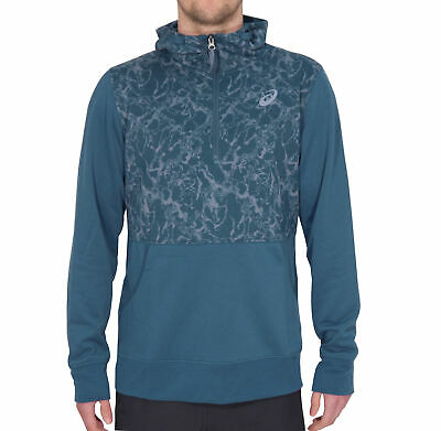 Asics Mens Hoody Blue Half Zip Gym Running Sports Workout Hooded Sweatshirt