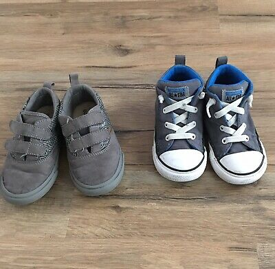 2 Pairs, Infant, Toddler Shoes, Size 8, Old Navy Gray, Converse All Stars