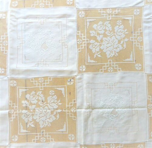 "Vintage Embroidered Lace Cutwork Irish Linen Tablecloth 70""x108"" & 12 Napkins"
