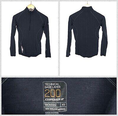 Icebreaker GT 200 Women's Dark Grey Half-Zip Technical Wool Baselayer LS Top  XS