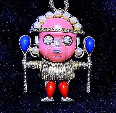 KJL signed Voodoo Witch Doctor Warrior Collector Pink Necklace Brooch