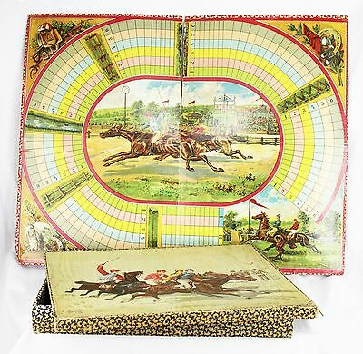 Antique French Horse Racing Steeplechase Board Game ca1890