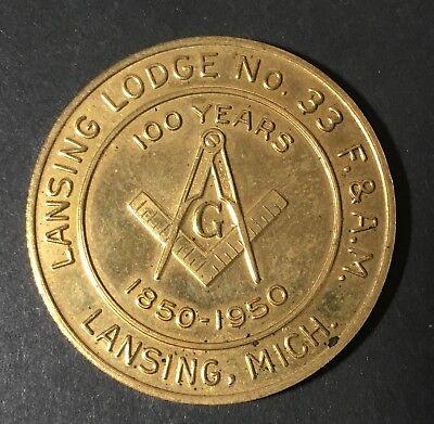 1950 Brass Lansing Lodge NO 33 - F.&A.M. Centennial Token - 1850-1950