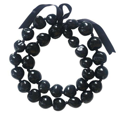 "New 32"" Best Quality  Black Kukui Nut Necklace Lei"