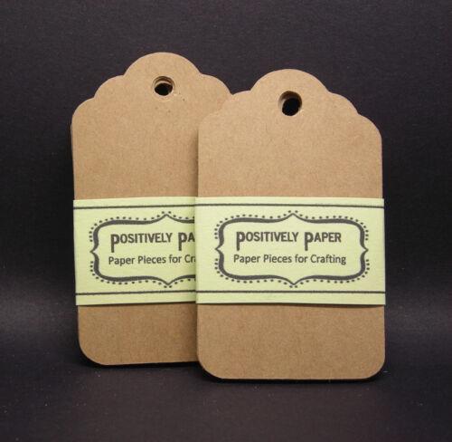 100+ Blank Scallop Gift Tags - Kraft - Cardstock Wedding Price Hang