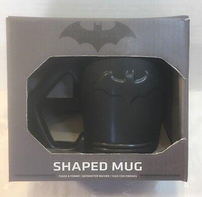 Batman Shaped Mug 3-D Bat Symbol Sleek Black Finish 12 Ounce Coffee New In - Batman Mug