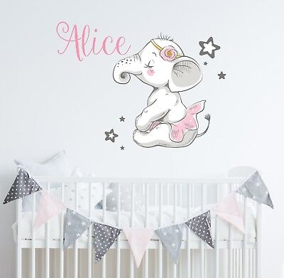 Elephant Wall Decal Nursery Ballerina Name Vinyl Sticker Baby Girls Decor SD64](Elephant Nursery Decor)