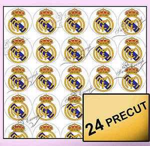 24 Real Madrid Precut Edible Wafer Rice Paper Cupcake Topper Football