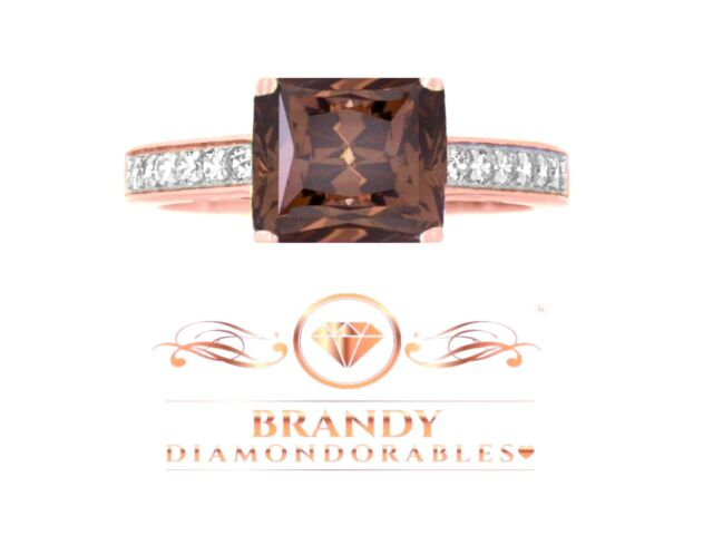 Brandy Diamondorables® Chocolate Brown 18K Rose Gold Silver  Lovely Ring 2.15 CT