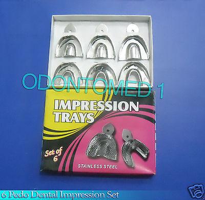 6 Pedo Dental Impression Trays Set Solid Denture