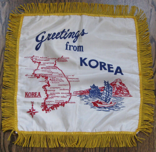 VINTAGE WWII KOREAN WAR PILLOW COVER SHAM-FRINGE MAP OF KOREA WITH CITIES.