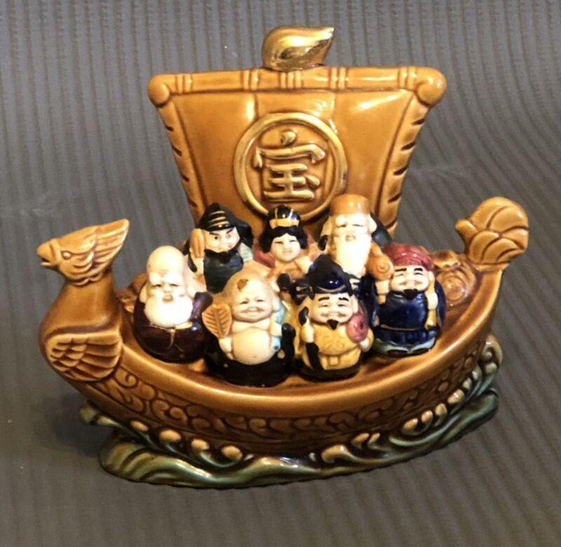 Porcelain Japanese New Year Seven Lucky Gods Treasure Ship SHICHIFUKUJIN