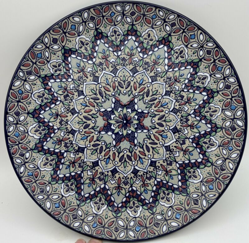 """Javier Servin Mexico Pottery Hand Painted SIGNED Plate Platter Raised Glaze 11"""""""